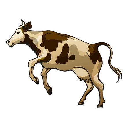 picture of a jumping cow on a white background  イラスト・ベクター素材