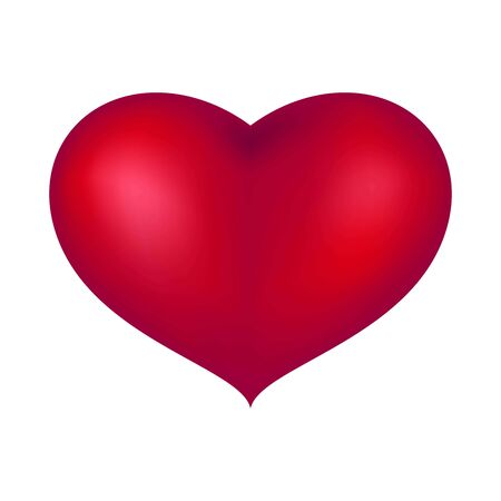 large volumetric red heart on white background