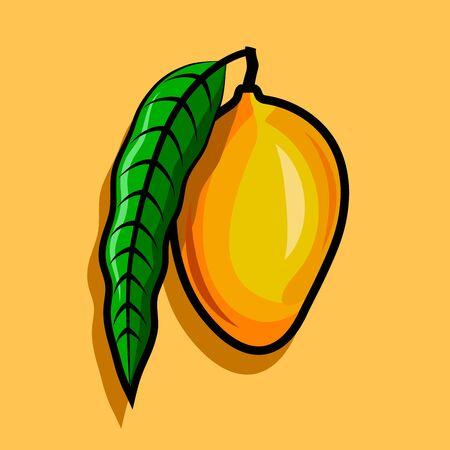 Ripe mango on branch with green leaf.
