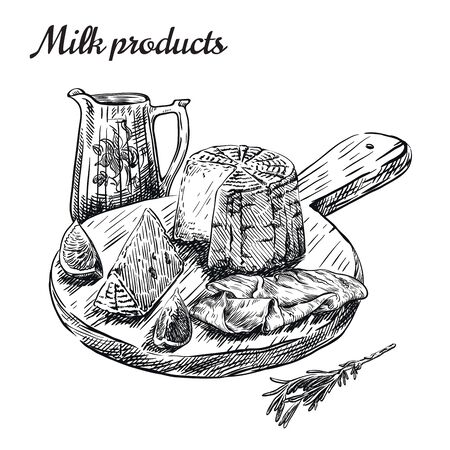 natural dairy products. set of vector sketches on a white