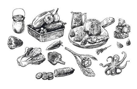 naturalne produkty. zestaw szkiców wektorowych na białym Ilustracje wektorowe