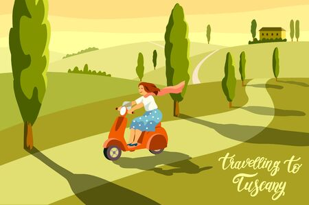 happy girl riding a scooter against the background of nature. color illustration