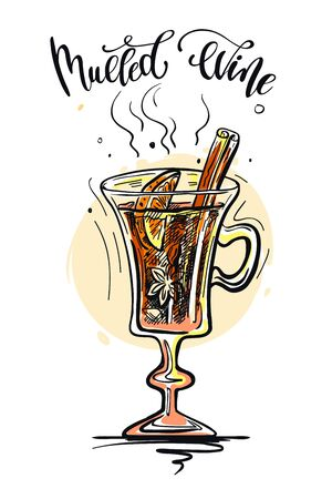 Christmas hot mulled wine with spices. Color sketch on a white Ilustração