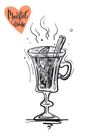 Christmas hot mulled wine with spices. Vector sketch on a white Ilustração