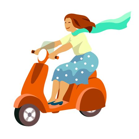 happy girl riding a scooter. color illustration on a white