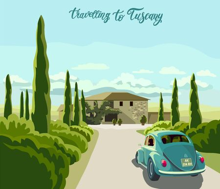 Travel to Tuscany by car. color vector illustration