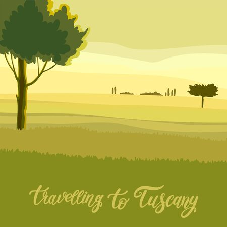travel to tuscany. dawn in the meadow. color illustration