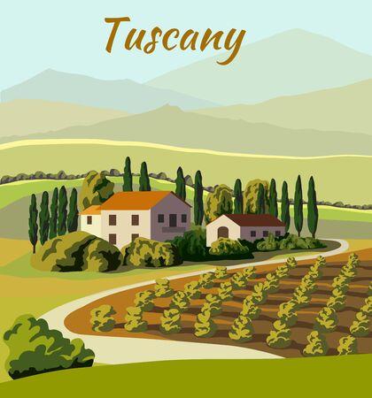 village houses and farmland. color vector illustration Vettoriali