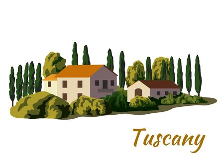 village houses and farmland. color illustration on a white Vettoriali