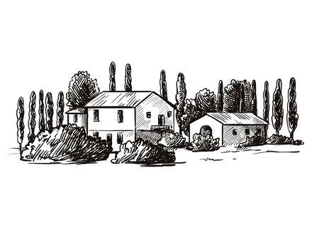 case del villaggio e terreni agricoli. schizzo disegnato a mano su sfondo nero