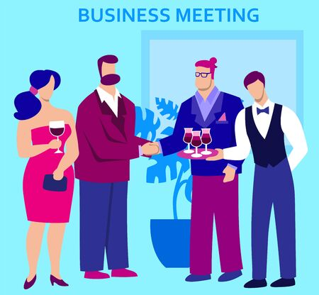 men and women attend a business meeting. color flat illustration
