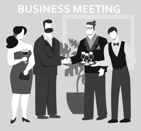 men and women attend a business meeting. flat illustration