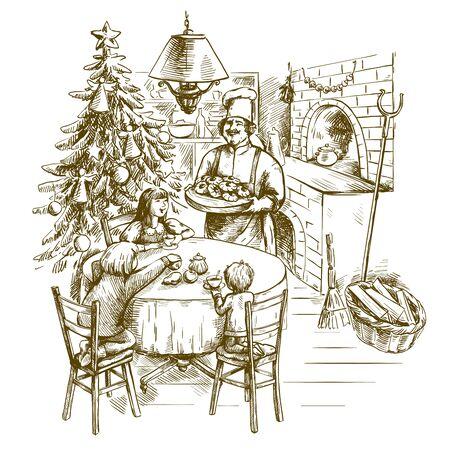 Christmas greeting card. freehand sketch on a gray background Ilustração