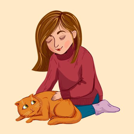 little girl stroking a scared kitten. color vector illustration on a beige