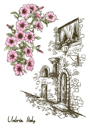 drawing of an old street in Italy and flowers