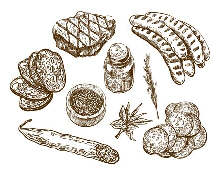 natural products. set of vector sketches on a white background  イラスト・ベクター素材