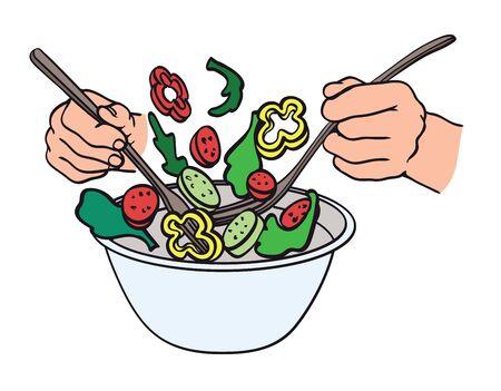salad making process. natural products. color illustration