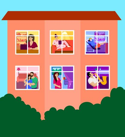 apartment house. activities during the period of self-isolation. color vector illustration
