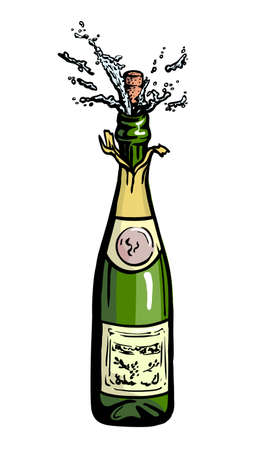 bottle of champagne at the time of opening. color vector illustration on a white background Ilustrace