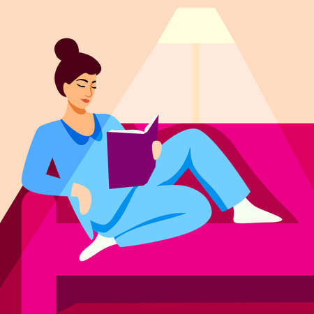 girl in pajamas reads a book on the couch. color illustration