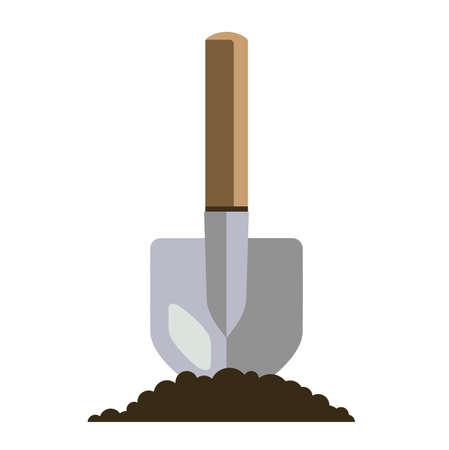 garden bayonet shovel flat illustration. hand tool