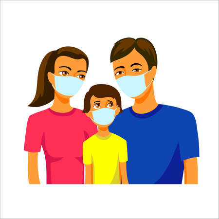 dad, mom and teenage son flat illustration. the whole family in medical masks 矢量图像