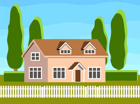 one storey country house flat illustration. cottage with lawn and trees