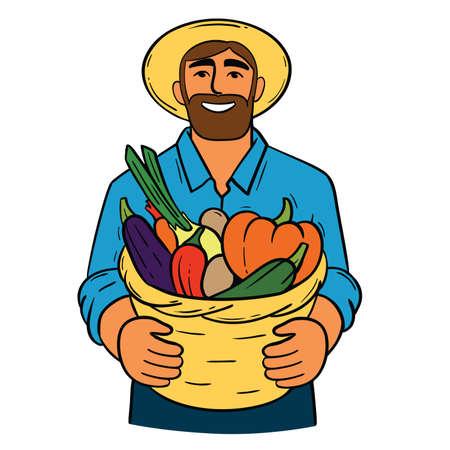 man in hat holding full basket of vegetables flat illustration. farmer and his harvest