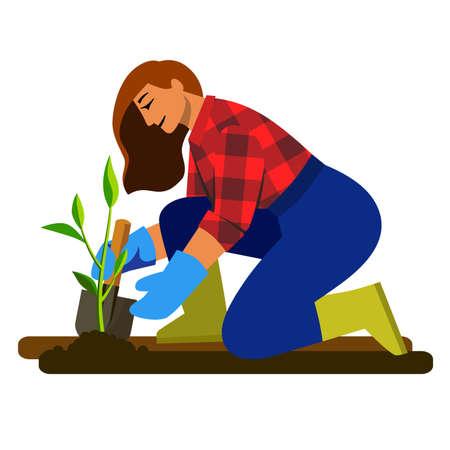 girl plants a plant in the soil flat illustration. gardener at work 矢量图像