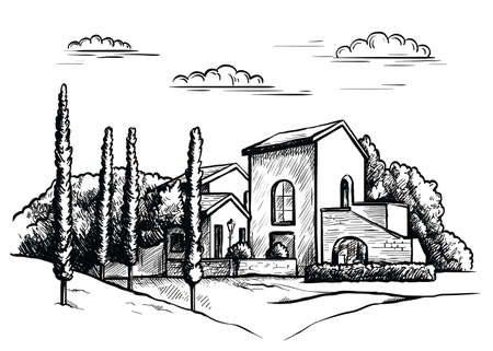 village houses and farmland. sketch drawn by hand on a grey background