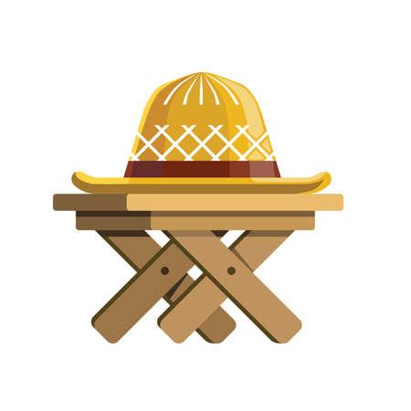 garden wicker hat lies on wooden table flat illustration