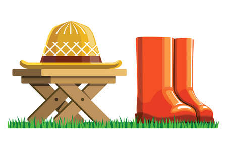 garden wicker hat lies on a wooden table flat illustration. red rubber boots stand on green grass