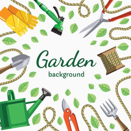 hand garden tools and personal protective equipment 矢量图像