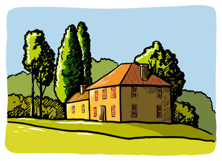 village houses and farmland. color sketch drawn by hand