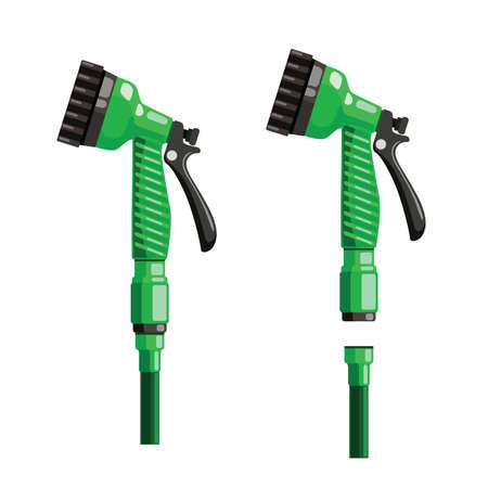 garden hose with watering can flat illustration. hand tool