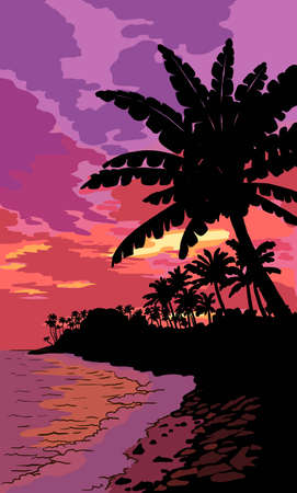 silhouettes of palm trees. sunset on a tropical island 矢量图像