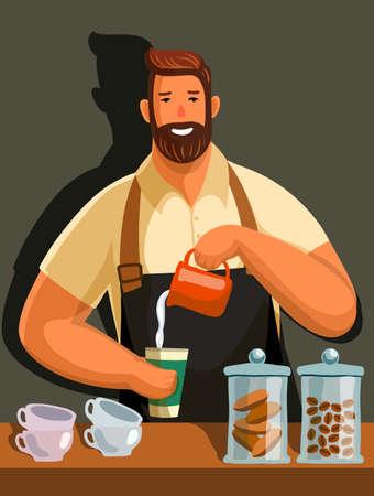 stylish male barista prepares his best coffee. flat color illustration