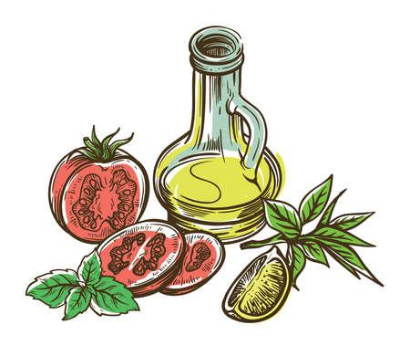 tomato, lemon slice and jug of olive oil. vector sketch on white background 矢量图像