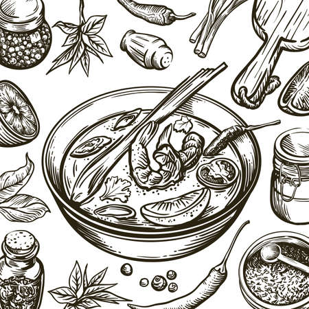 dish with soup tom yam and ingredients for its preparation. set of vector sketches on white background