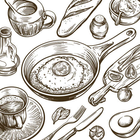 natural products for a good breakfast. food and dishes on the table. set of vector sketches