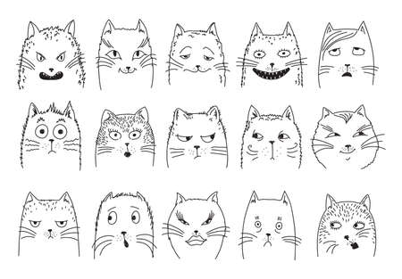 impromptu heads of cats express different emotions. set of vector sketches