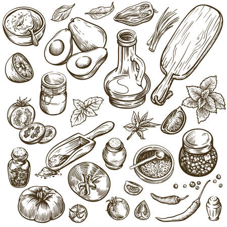ingredients for preparing various dishes and table setting. natural products. set of sketches on a white background