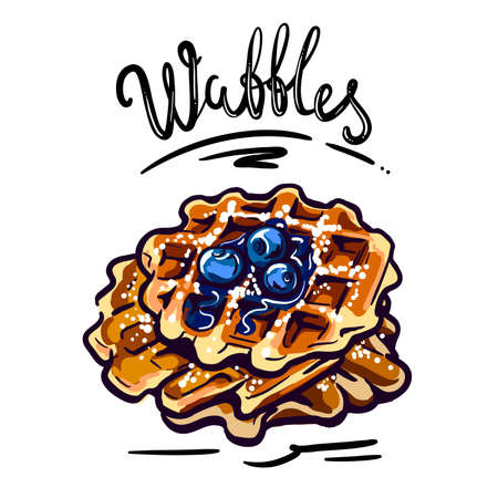 Crispy waffles with blueberries vector illustration