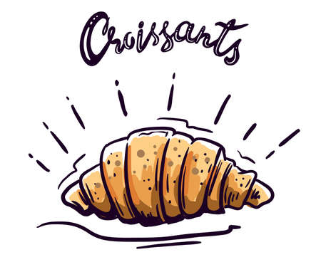 French croissant vector illustration on white 矢量图像