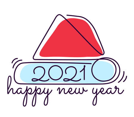 Happy new year 2021. stylized Santa Claus hat