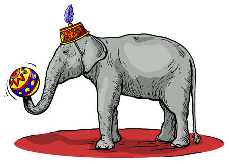 circus elephant stands and holds a ball in its trunk. vector sketch made by hand 矢量图像