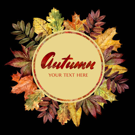 leaves of various trees in autumn colors. wreath of leaves made by watercolors