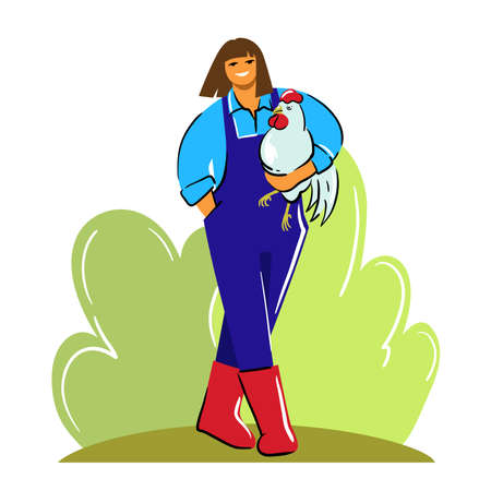 woman farmer in overalls and rubber boots holds a chicken in her hands and smiles. color illustration