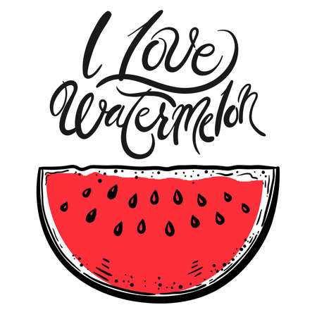 stylized berries. ripe watermelon on a white background