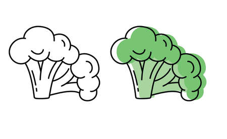 Natural vegetables from the garden. eco products. vector broccoli icons in flat style.